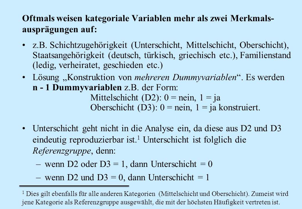 wenn D2 oder D3 = 1, dann Unterschicht = 0