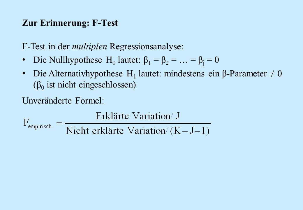 Zur Erinnerung: F-Test