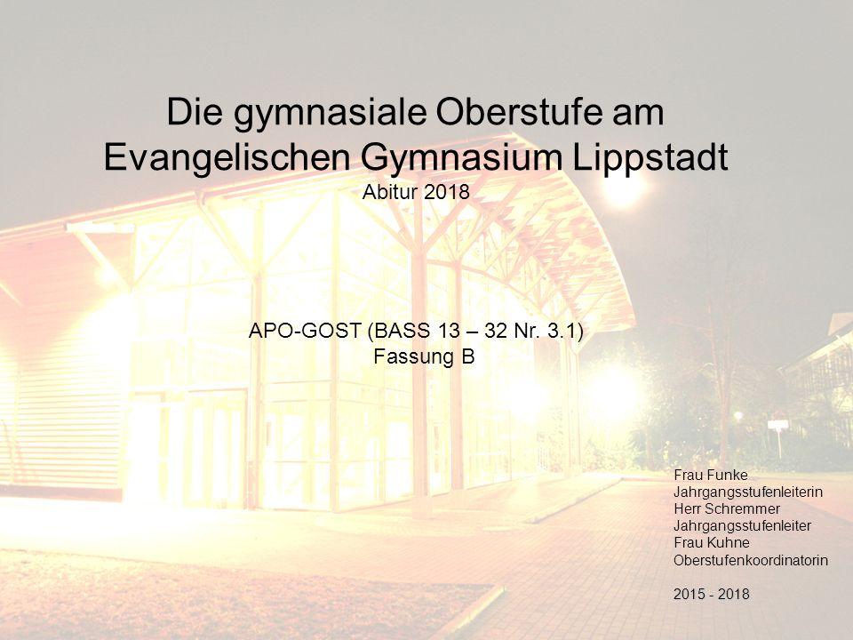 Die gymnasiale Oberstufe am Evangelischen Gymnasium Lippstadt Abitur 2018