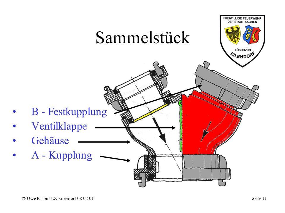 Sammelstück B - Festkupplung Ventilklappe Gehäuse A - Kupplung