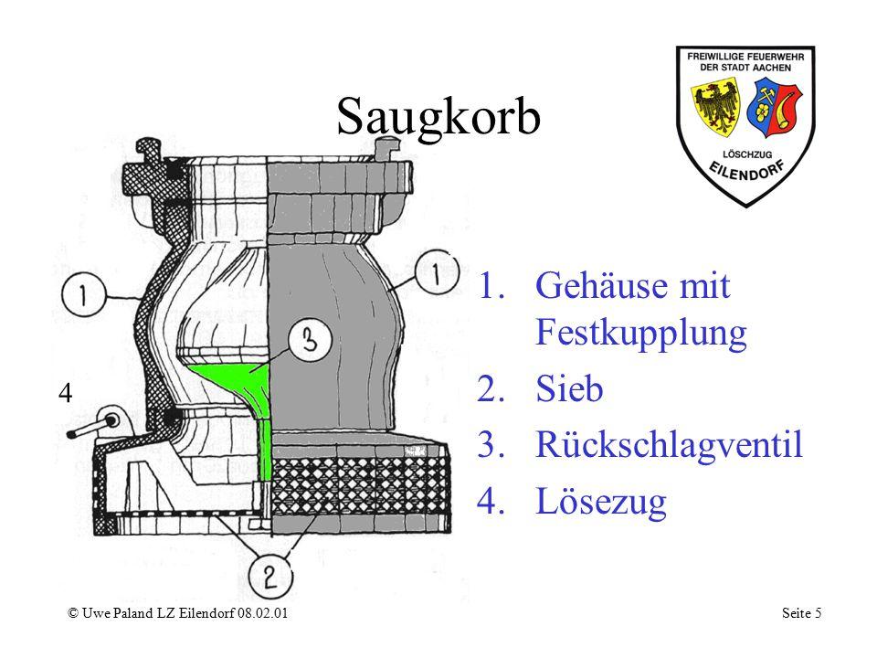 Saugkorb Gehäuse mit Festkupplung Sieb Rückschlagventil Lösezug 4