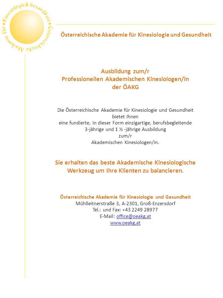 Professionellen Akademischen Kinesiologen/in der ÖAKG