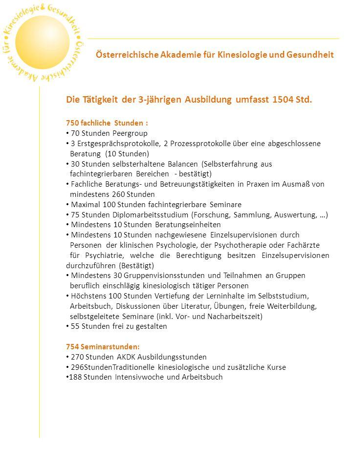 Die Tätigkeit der 3-jährigen Ausbildung umfasst 1504 Std.