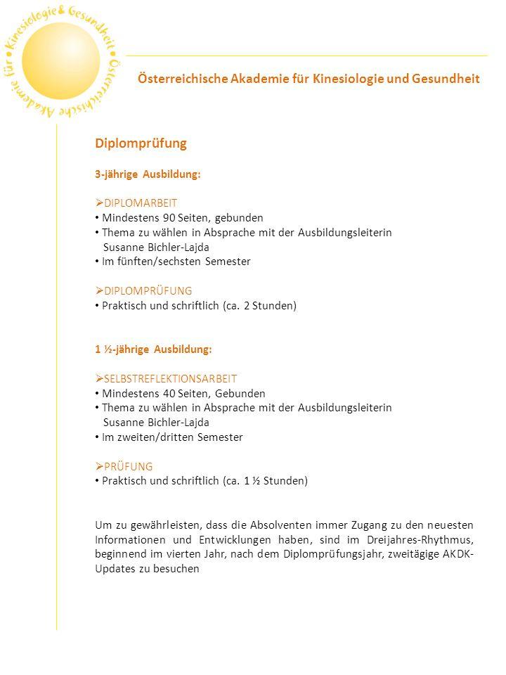 Diplomprüfung Österreichische Akademie für Kinesiologie und Gesundheit