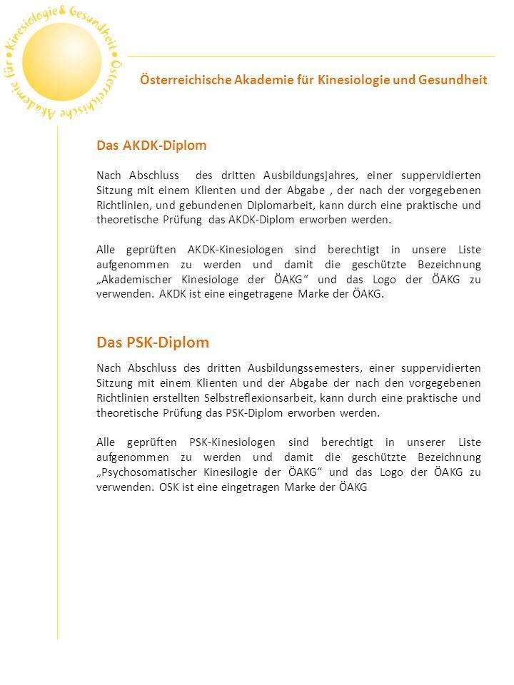 Das PSK-Diplom Das AKDK-Diplom