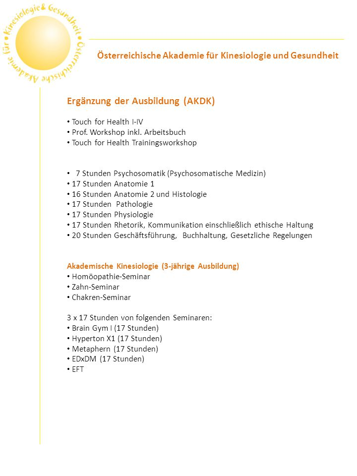 Ergänzung der Ausbildung (AKDK)