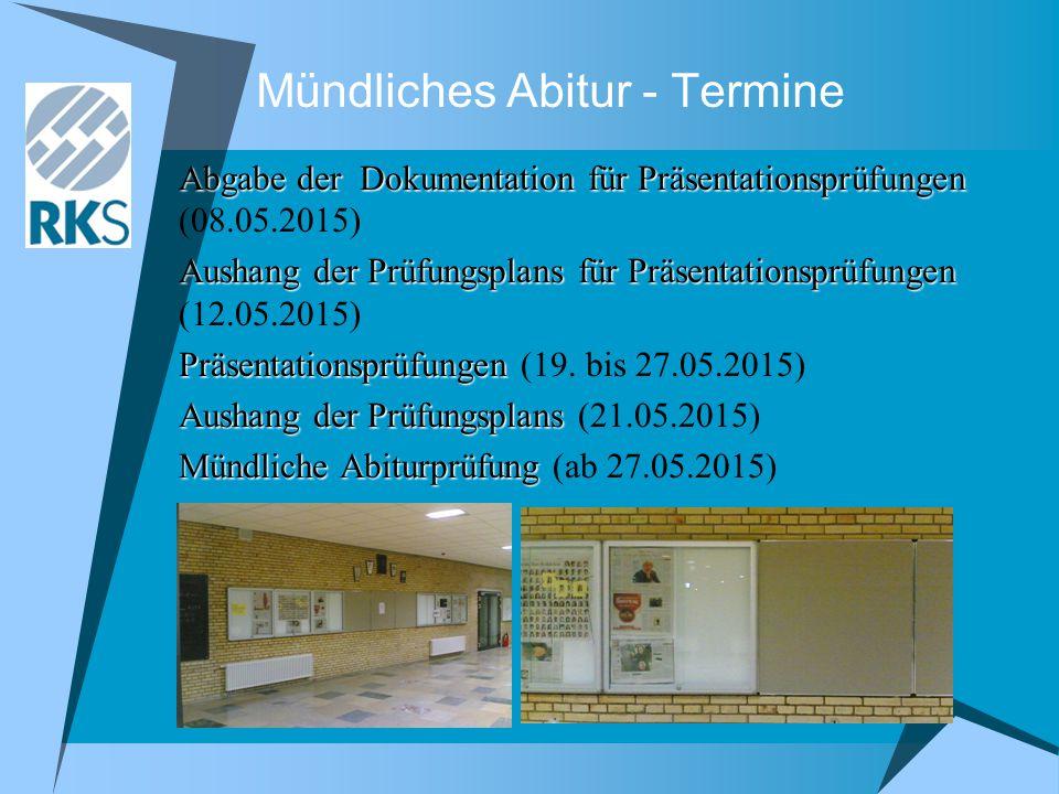 Mündliches Abitur - Termine