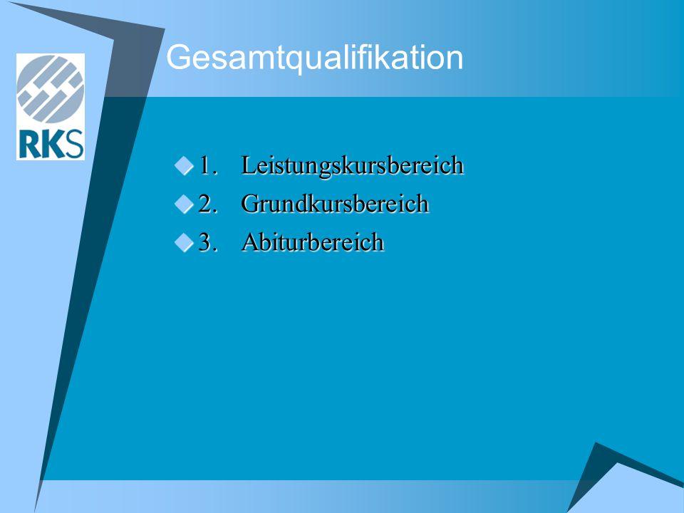 Gesamtqualifikation 1. Leistungskursbereich 2. Grundkursbereich