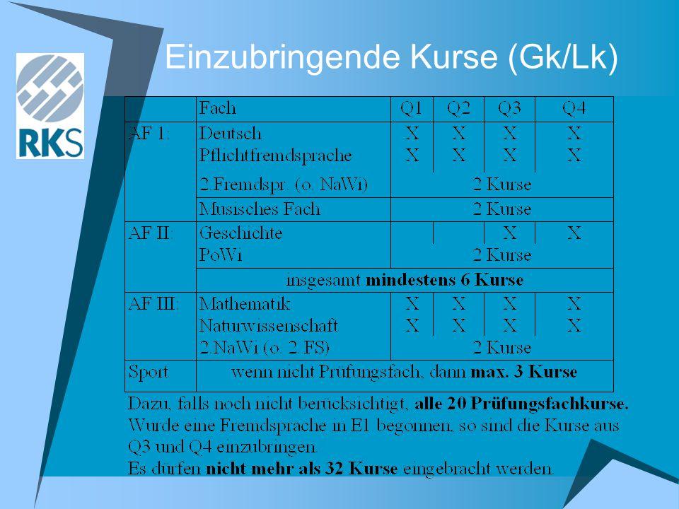 Einzubringende Kurse (Gk/Lk)