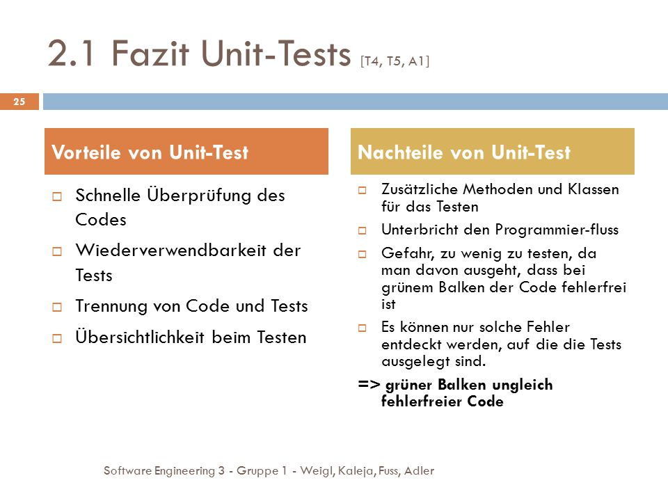 2.1 Fazit Unit-Tests [T4, T5, A1]