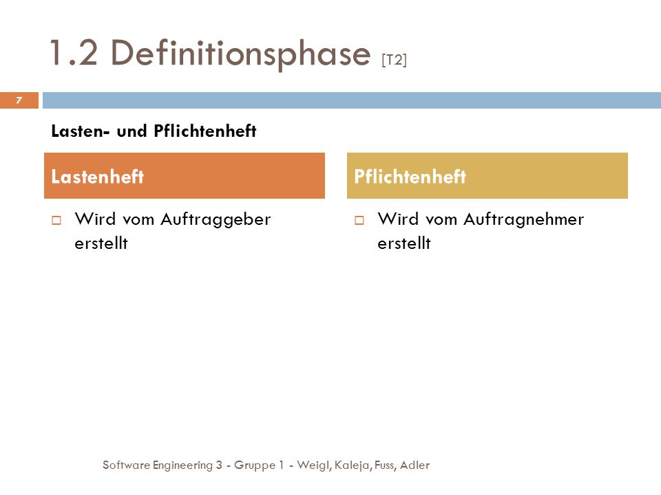 1.2 Definitionsphase [T2] Lastenheft Pflichtenheft