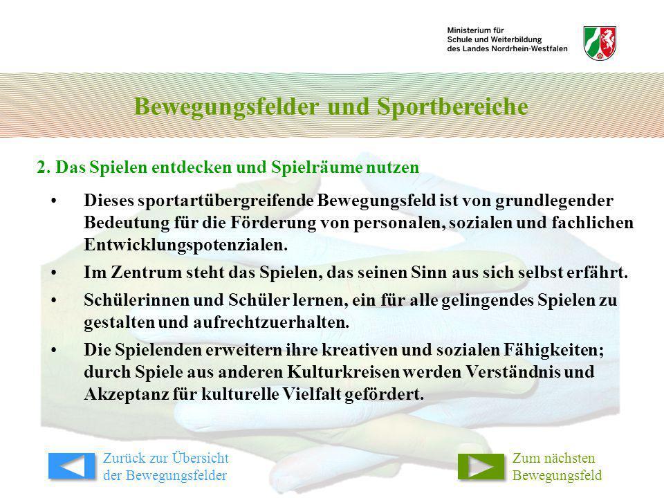 Bewegungsfelder und Sportbereiche