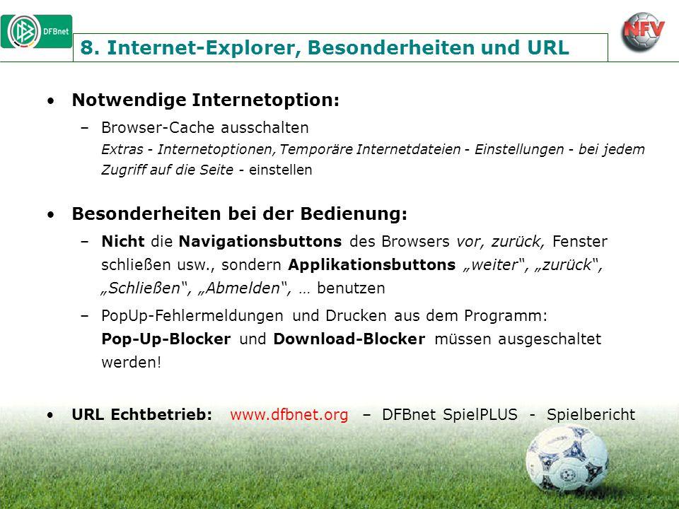 8. Internet-Explorer, Besonderheiten und URL