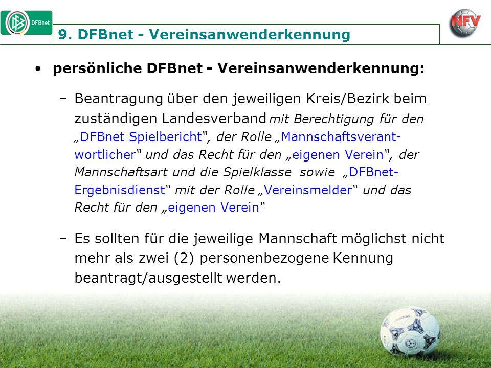 9. DFBnet - Vereinsanwenderkennung