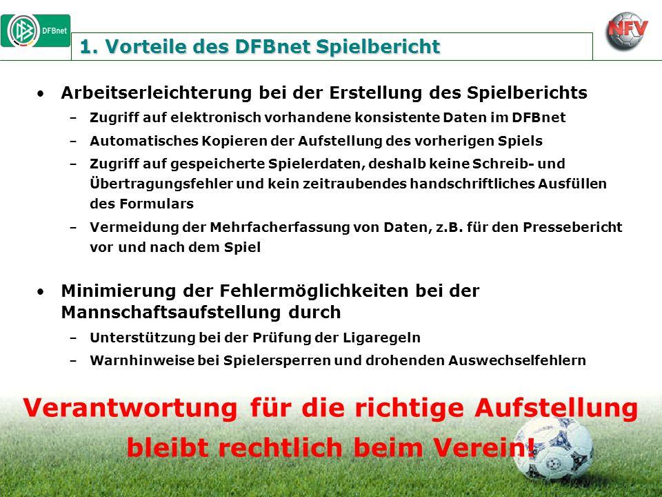 1. Vorteile des DFBnet Spielbericht