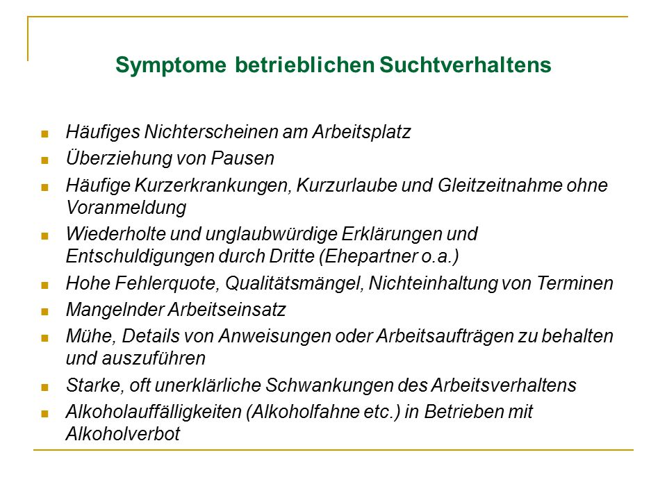 Symptome betrieblichen Suchtverhaltens