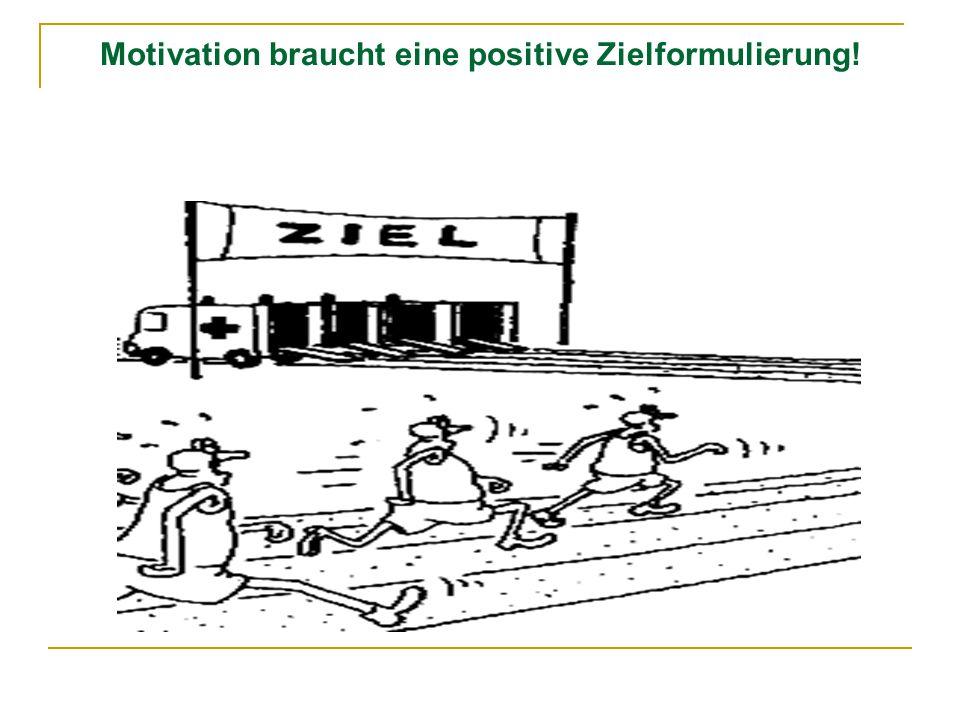 Motivation braucht eine positive Zielformulierung!