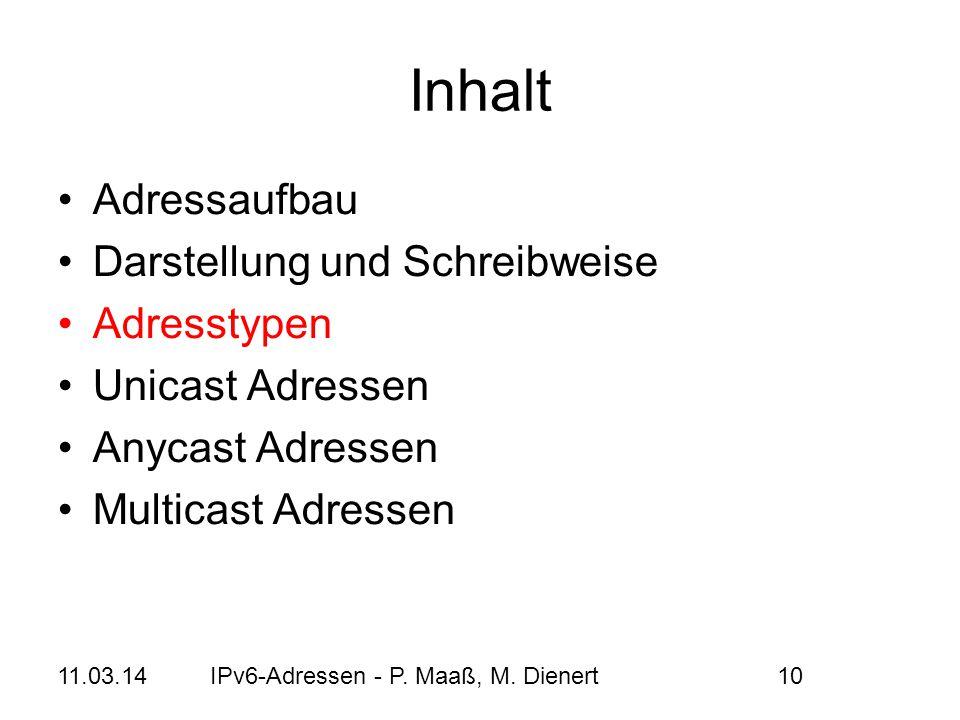 Inhalt Adressaufbau Darstellung und Schreibweise Adresstypen