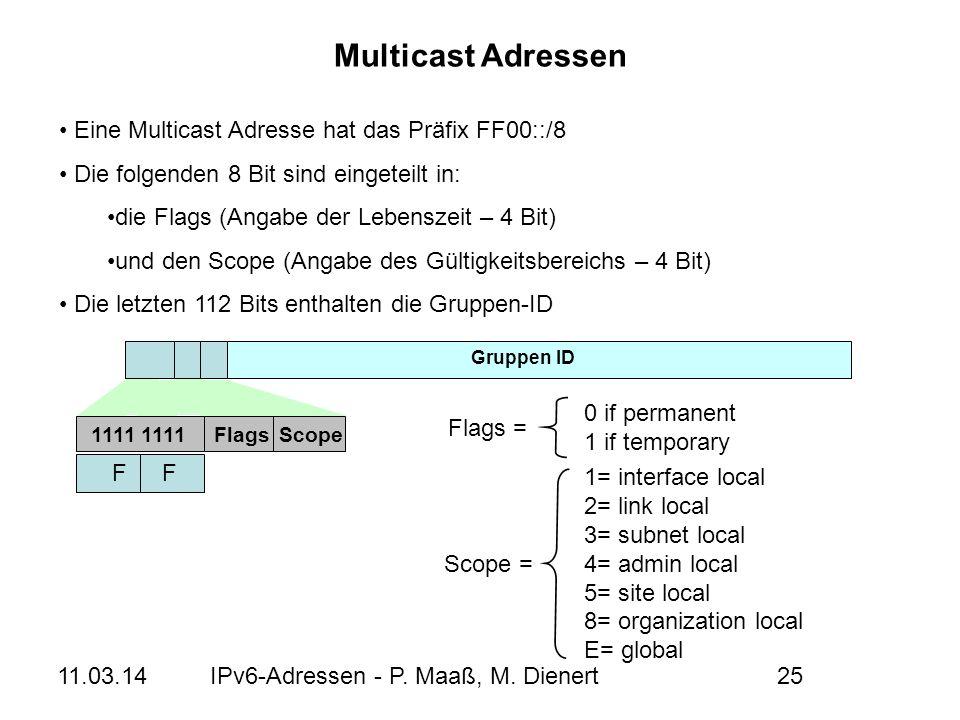 Multicast Adressen Eine Multicast Adresse hat das Präfix FF00::/8