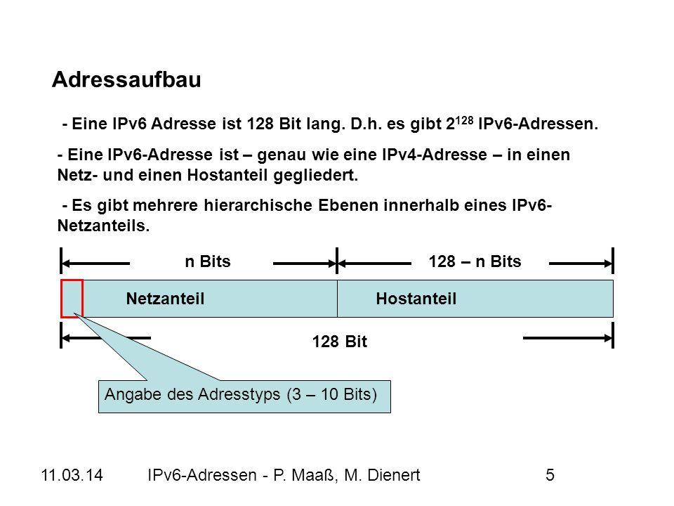 Adressaufbau - Eine IPv6 Adresse ist 128 Bit lang. D.h. es gibt 2128 IPv6-Adressen.