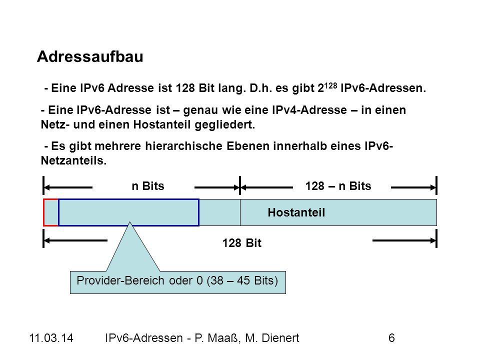 Provider-Bereich oder 0 (38 – 45 Bits)