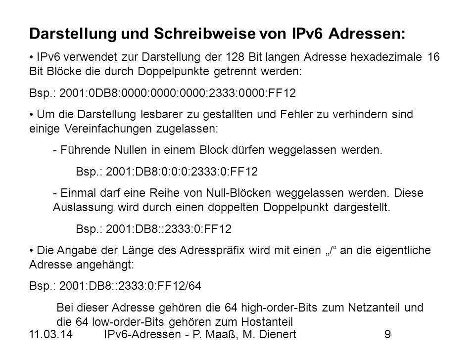Darstellung und Schreibweise von IPv6 Adressen: