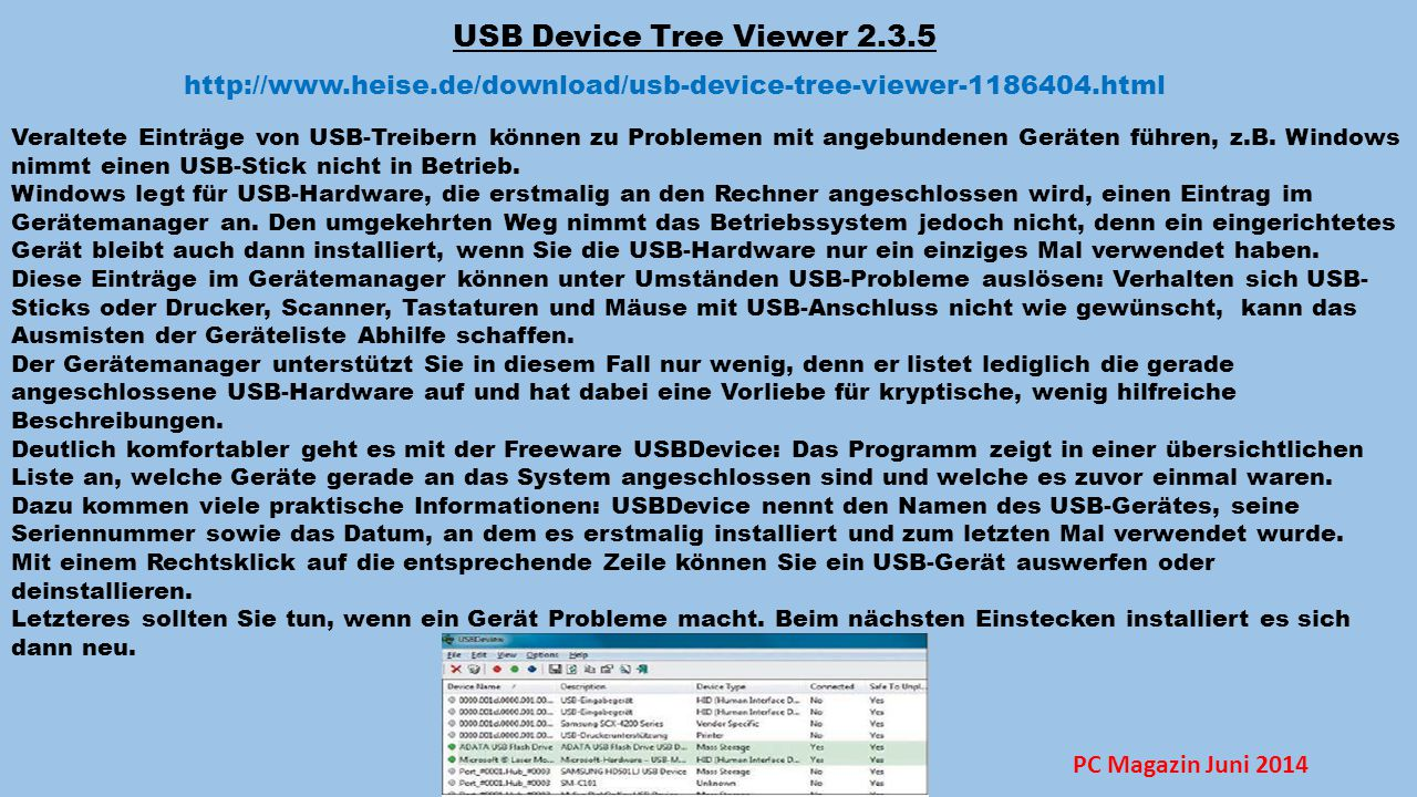 USB Device Tree Viewer 2.3.5 http://www.heise.de/download/usb-device-tree-viewer-1186404.html.