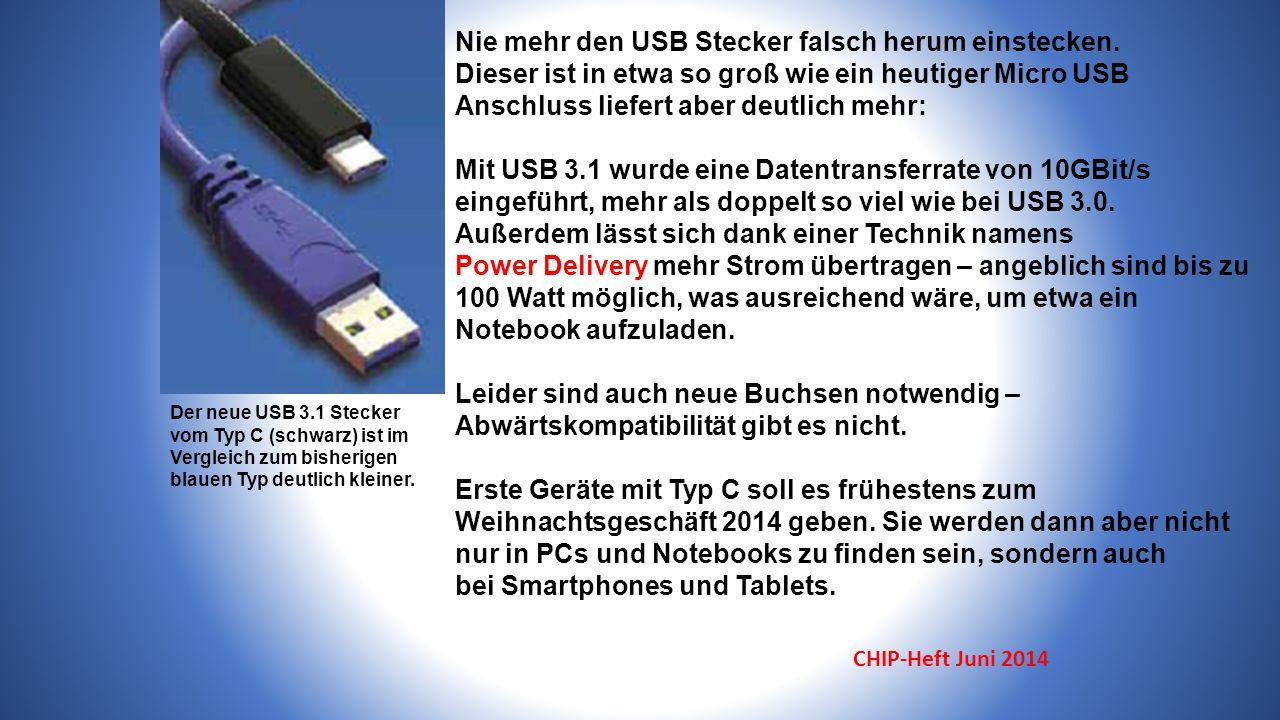 Nie mehr den USB Stecker falsch herum einstecken.