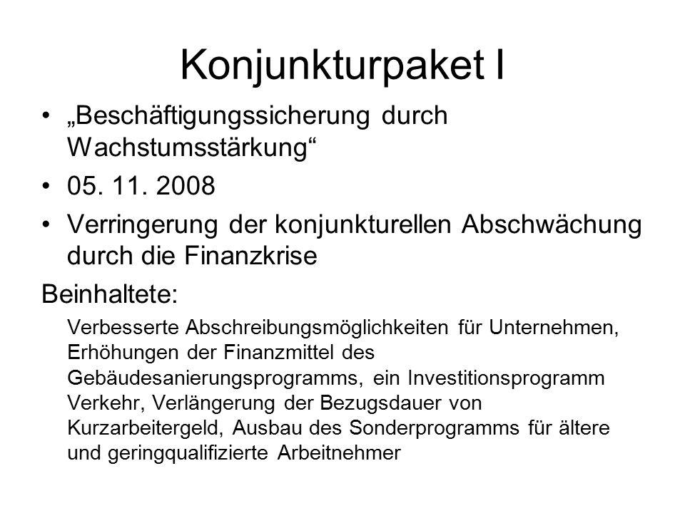 "Konjunkturpaket I ""Beschäftigungssicherung durch Wachstumsstärkung"