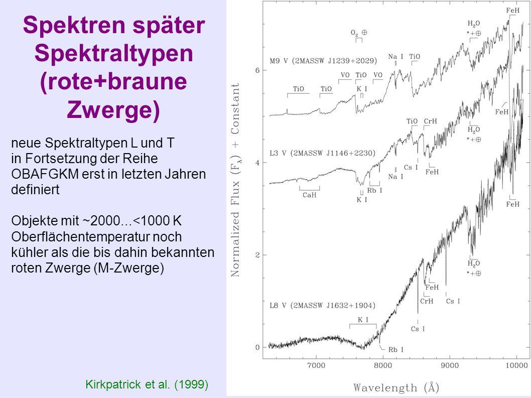 Spektren später Spektraltypen (rote+braune Zwerge)