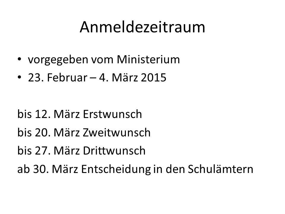 Anmeldezeitraum vorgegeben vom Ministerium 23. Februar – 4. März 2015