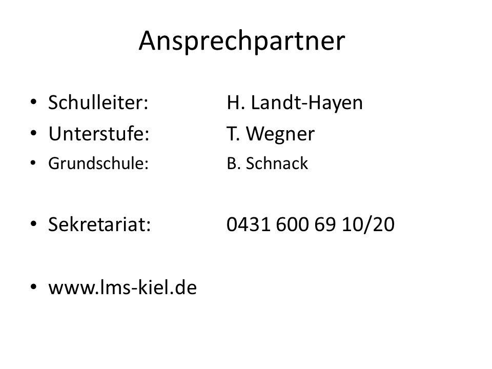 Ansprechpartner Schulleiter: H. Landt-Hayen Unterstufe: T. Wegner