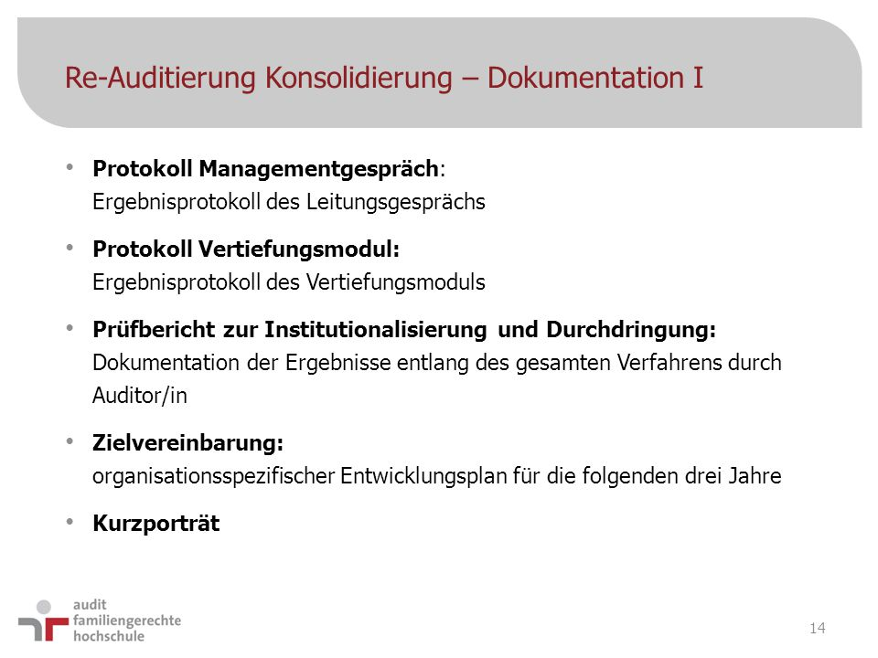 Re-Auditierung Konsolidierung – Dokumentation I