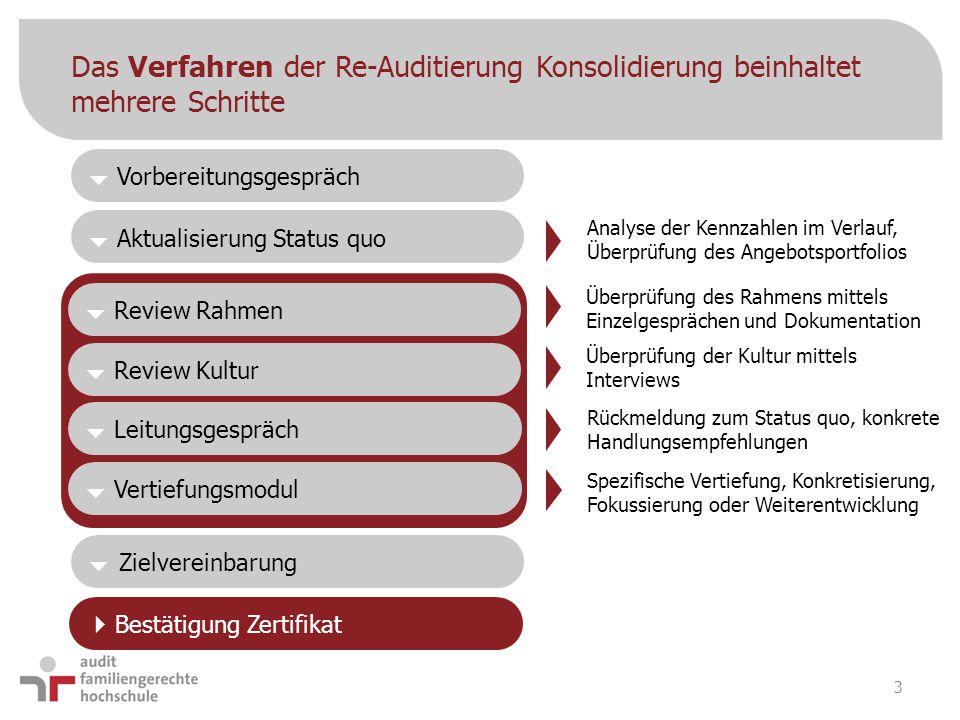 Das Verfahren der Re-Auditierung Konsolidierung beinhaltet mehrere Schritte