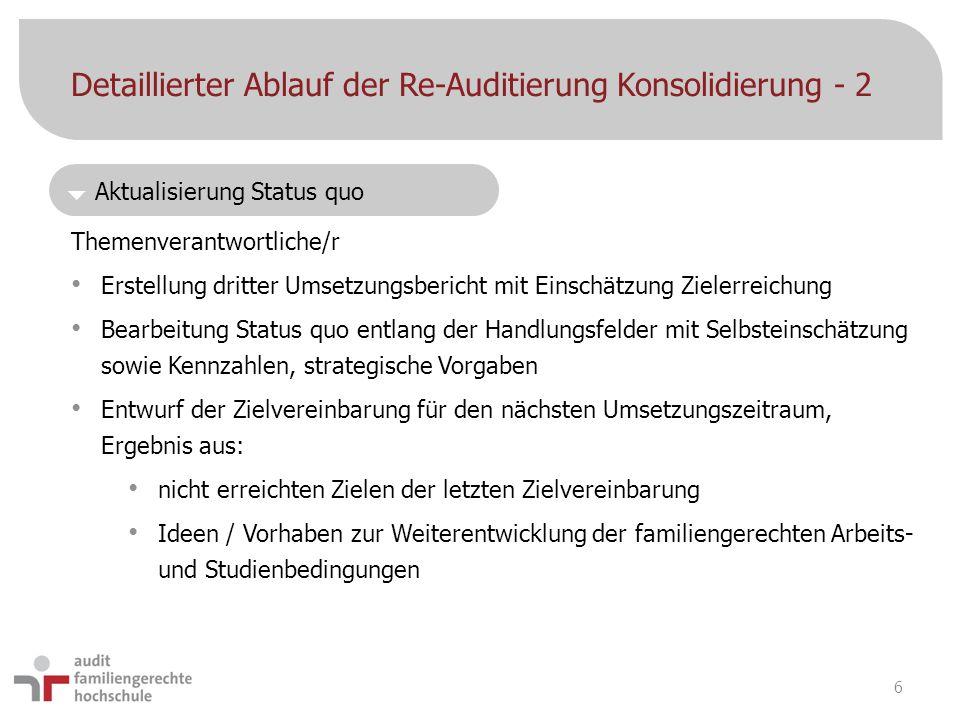 Detaillierter Ablauf der Re-Auditierung Konsolidierung - 2