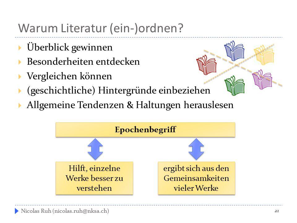 Warum Literatur (ein-)ordnen