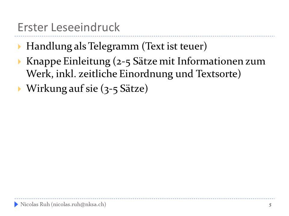 Erster Leseeindruck Handlung als Telegramm (Text ist teuer)