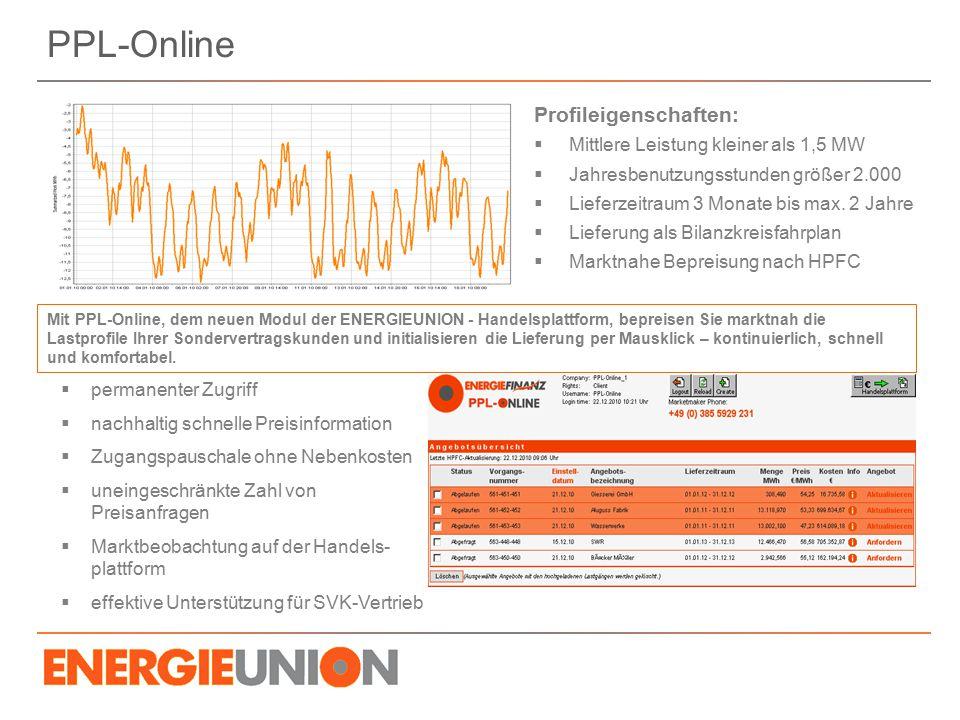 PPL-Online Profileigenschaften: Mittlere Leistung kleiner als 1,5 MW