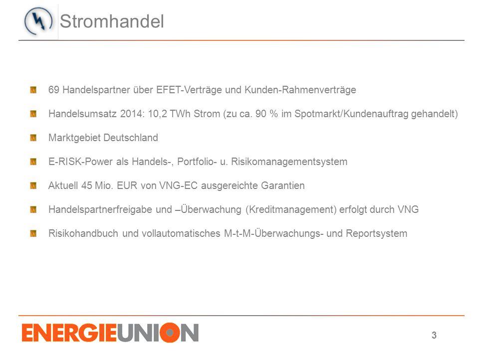 Stromhandel 69 Handelspartner über EFET-Verträge und Kunden-Rahmenverträge.