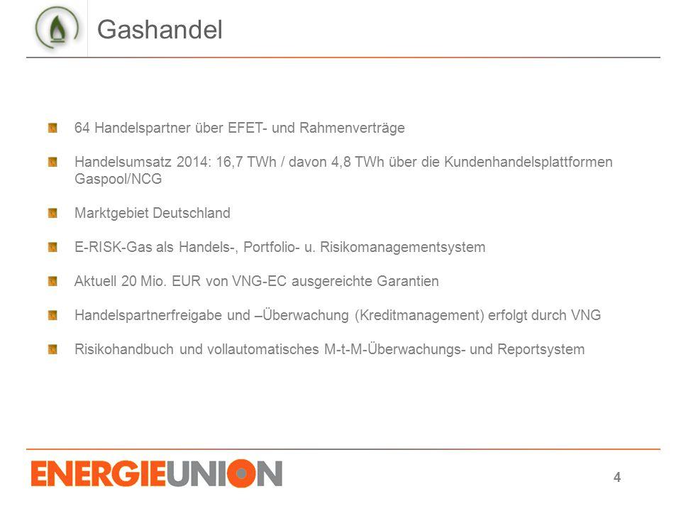 Gashandel 64 Handelspartner über EFET- und Rahmenverträge