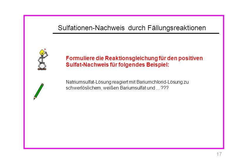 Sulfationen-Nachweis durch Fällungsreaktionen