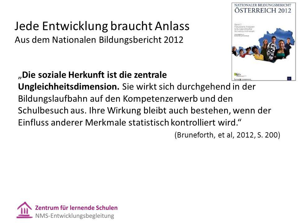 Jede Entwicklung braucht Anlass Aus dem Nationalen Bildungsbericht 2012
