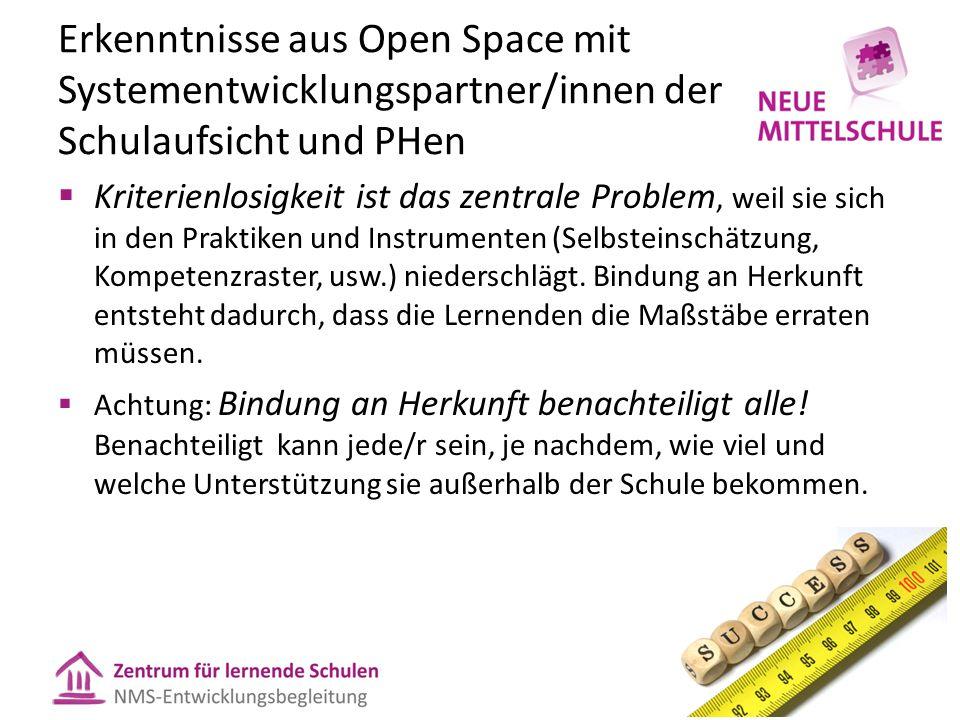 Erkenntnisse aus Open Space mit Systementwicklungspartner/innen der Schulaufsicht und PHen