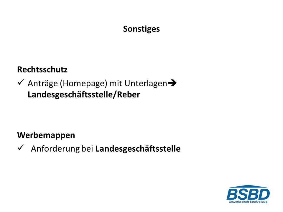 Sonstiges Rechtsschutz. Anträge (Homepage) mit Unterlagen Landesgeschäftsstelle/Reber. Werbemappen.
