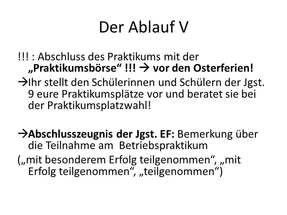 """Der Ablauf V !!! : Abschluss des Praktikums mit der """"Praktikumsbörse !!!  vor den Osterferien!"""