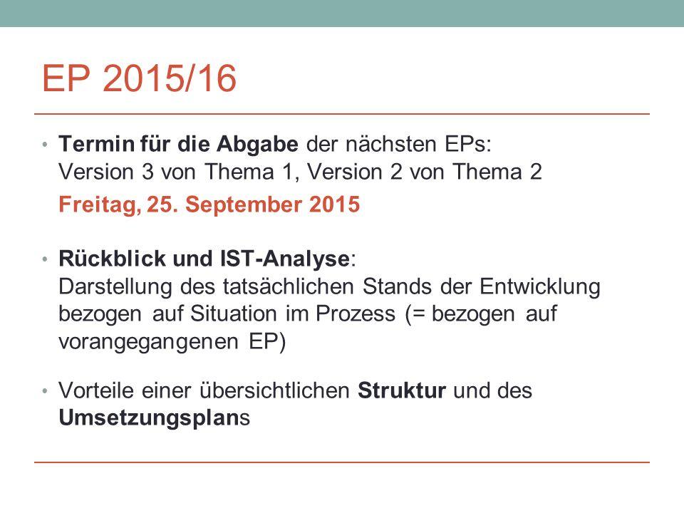EP 2015/16 Termin für die Abgabe der nächsten EPs: Version 3 von Thema 1, Version 2 von Thema 2. Freitag, 25. September 2015.
