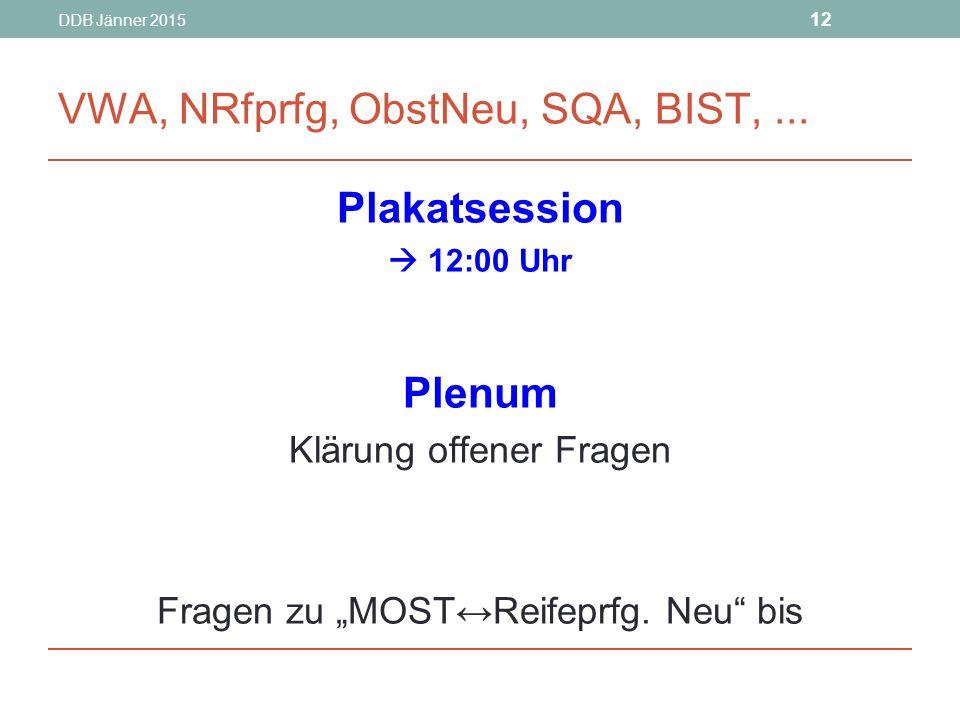 VWA, NRfprfg, ObstNeu, SQA, BIST, ...