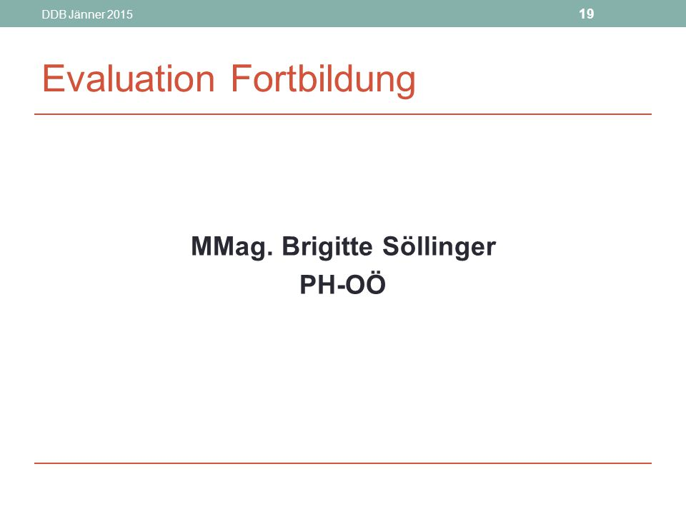 Evaluation Fortbildung
