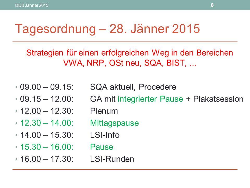 DDB Jänner 2015 8. Tagesordnung – 28. Jänner 2015. Strategien für einen erfolgreichen Weg in den Bereichen VWA, NRP, OSt neu, SQA, BIST, ...