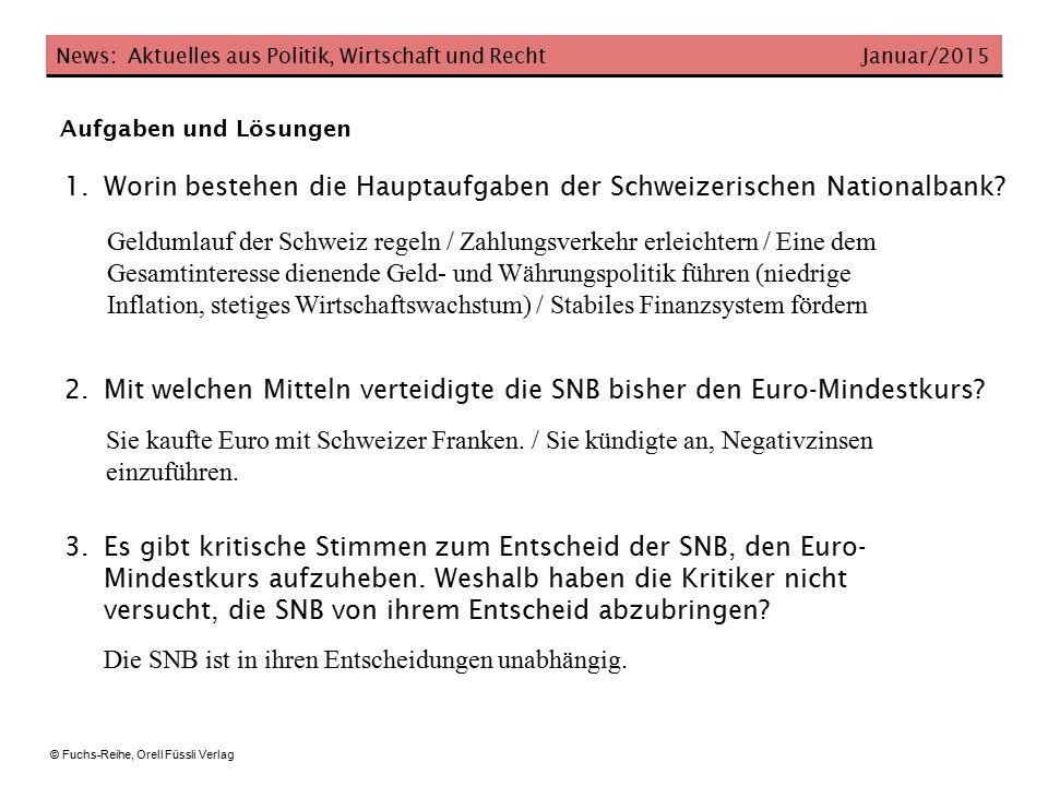 Worin bestehen die Hauptaufgaben der Schweizerischen Nationalbank